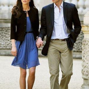 Zara Sz S Blue Pleat Belted Dress ASO Duchess Kate